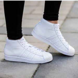 Adidas All White Promodel Metal Toe, sz 8